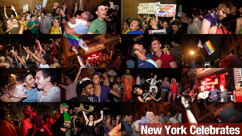Illustration for article titled New Yorkers Take to the Streets to Celebrate Gay Marriage Vote