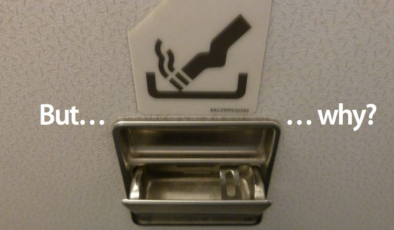 Illustration for article titled Why Airplanes Still Have Ashtrays in the Bathrooms