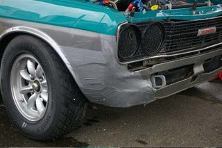 Illustration for article titled Duct Tape Saves The Day For Vintage Racer's Datsun 510