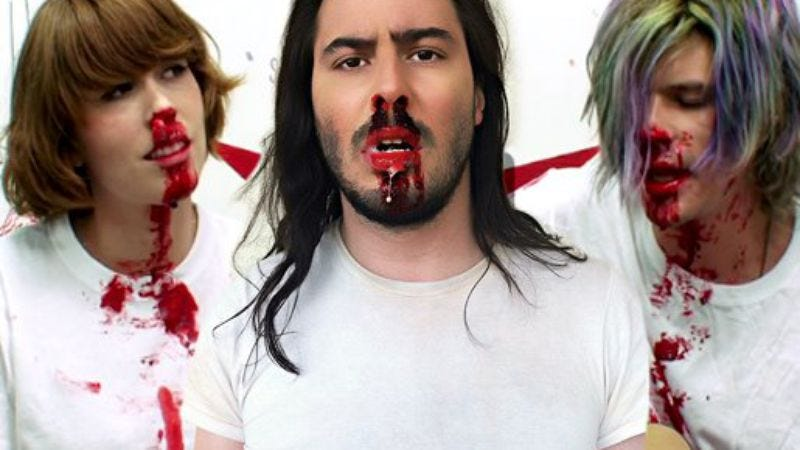 "Illustration for article titled Andrew W.K. liked Grouplove's ""Party Hard"" so much, he Photoshopped himself in"