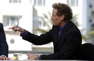 Then-Cold Pizza host Skip Bayless on the ESPN set in Miami Feb. 1, 2007Allen Kee/Getty Images
