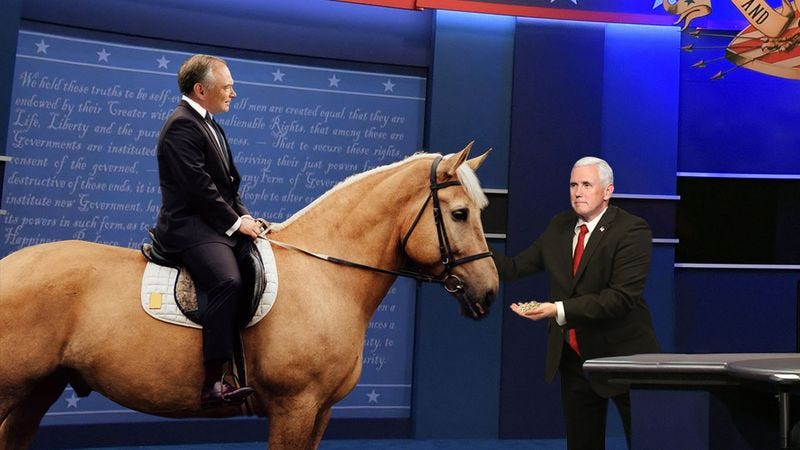 Illustration for article titled Major Disaster: Did Mike Pence Just Blow The Debate When He Got Off His Horse To Go Feed Oats To Tim Kaine's Horse?