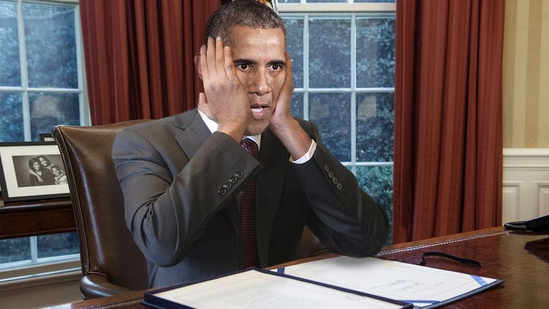 Illustration for article titled Close Call: The Secret Service Just Caught Barack Obama Trying To Pull His Own Head Off