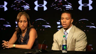 Ray Rice of the Baltimore Ravens addresses a news conference with his wife, Janay, at the Ravens training center on May 23, 2014, in Owings Mills, Md. Rice spoke publicly for the first time since facing felony assault charges stemming from a February incident involving Janay at an Atlantic City, N.J., casino.Rob Carr/Getty Images