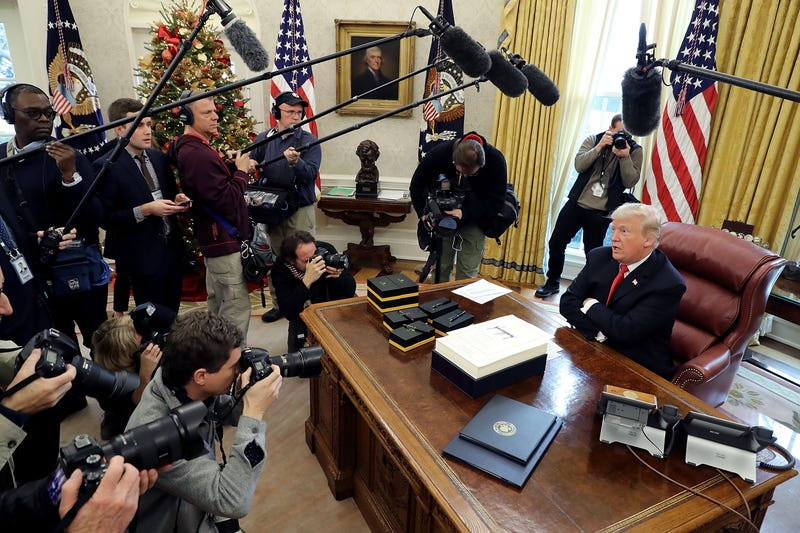 President Donald Trump after signing tax-reform legislation in the Oval Office on Dec. 22, 2017, in Washington, D.C. (Chip Somodevilla/Getty Images)