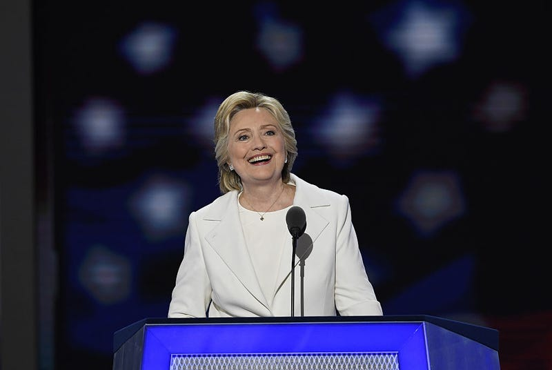 Hillary Clinton, 2016 Democratic presidential nominee, speaks during the Democratic National Convention in Philadelphia on July 28, 2016.David Paul Morris/Bloomberg via Getty Images