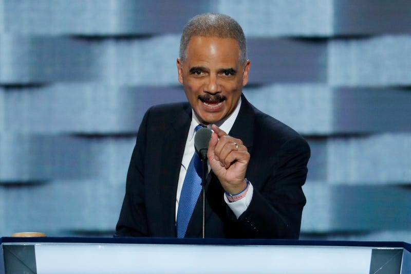 Former Attorney General Eric Holder speaks during the second day of the Democratic National Convention in Philadelphia on July 26, 2016.