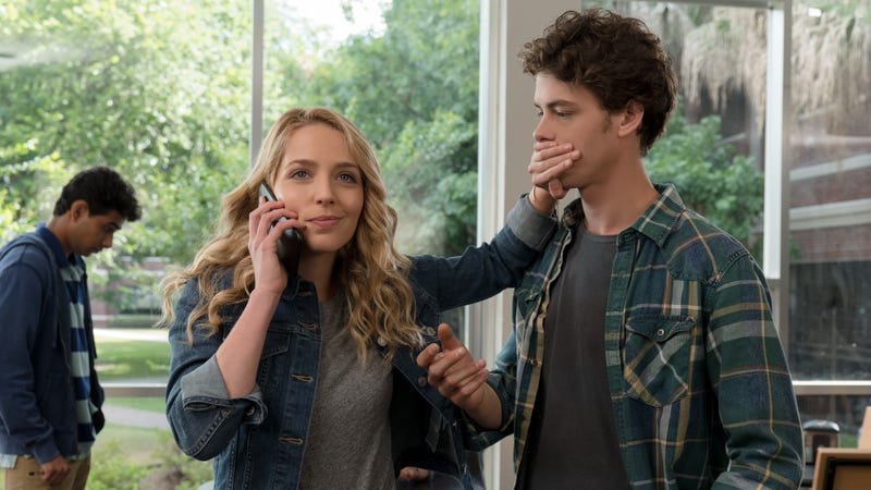 Jessica Rothe and Israel Broussard in Happy Death Day 2U
