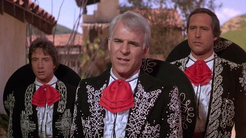 """Illustration for article titled Steve Martin, Chevy Chase, and Martin Short learn the meaning of """"infamous"""""""