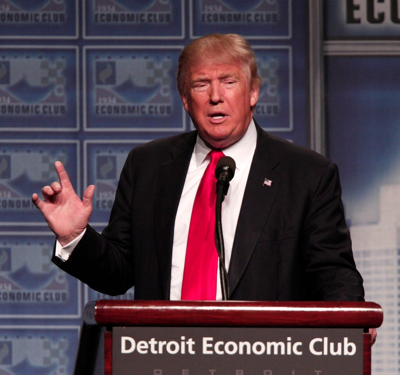 Republican presidential candidate Donald Trump delivers an economic-policy address in Detroit on Aug. 8, 2016.Bill Pugliano/Getty Images
