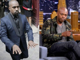 Kanye West leaving a hotel in Paris in May 2014; Dave Chappelle during an interview on The Tonight Show Starring Jimmy Fallon in New York that aired on June 13, 2014.KENZO TRIBOUILLARD/AFP/Getty Images; Jamie McCarthy/NBC/Getty Images for The Tonight Show Starring Jimmy Fallon