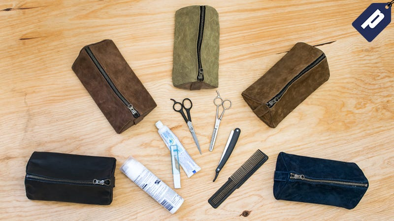 Illustration for article titled Pack All The Toiletries You Need In This Handmade Leather Dopp Kit (50% Off)