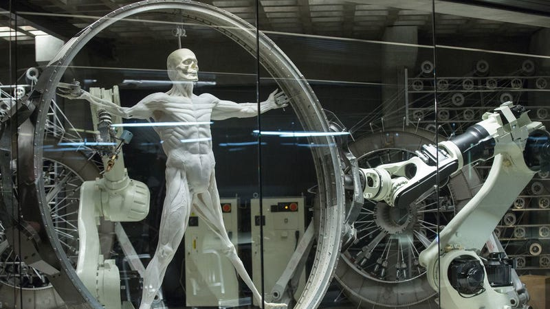 One of Westworld's hosts in the process of being assembled.