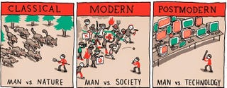 Illustration for article titled How humans have created stories through the ages in a nine-panel strip