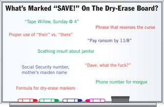 """Illustration for article titled What's Marked """"SAVE!"""" On The Dry-Erase Board"""