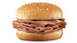 Illustration for article titled The Snacktaku Slider: Arby's Roast Beef-ish Sandwich