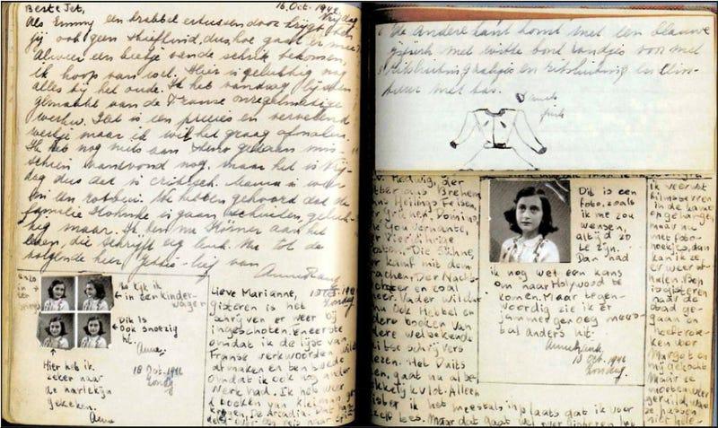 Foto del diario original de Anne Frank que su padre publicaría en 1997. Foto: http://www.annefrank.ch