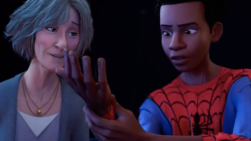 Aunt May giving Miles his first pair of web shooters