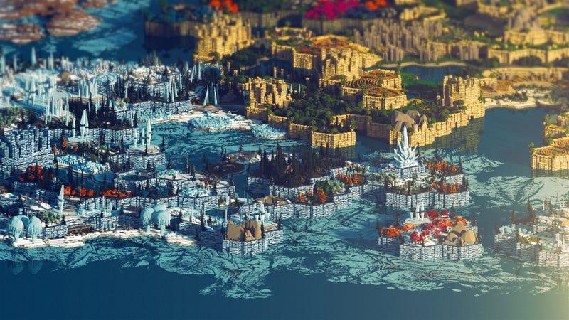 Illustration for article titled Hicieron falta 400 horas para acabar de construir uno de los mapas más hermosos de Minecraft