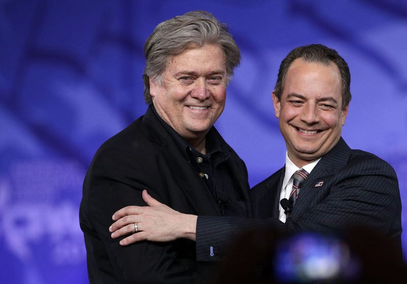 White House Chief Strategist Steve Bannon and White House Chief of Staff Reince Priebus at the Conservative Political Action Conference in National Harbor, Md., on Feb. 23, 2017 (Alex Wong/Getty Images)