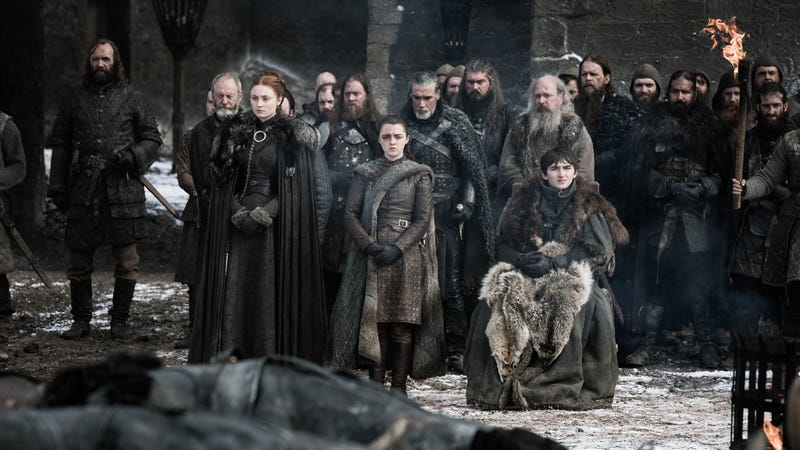 Rory McCann, Liam Cunningham, Sophie Turner, Maisie Williams, Isaac Hempstead Wright
