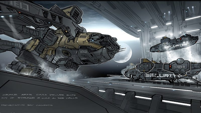 Breathtaking Concept Art Of Elysium S Spaceship Hangar And