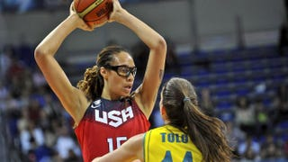 USA's Brittney Griner challenges Australia's Marianna Tolo during the 2014 FIBA Women's World Championship semifinal basketball match at the Fenerbahce Ulker Sports Arena Istanbul on Oct. 4, 2014.OZAN KOSE/AFP/Getty Images