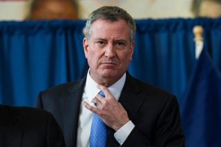 New York City Mayor Bill DeBlasio attends a press conference in Brooklyn, N.Y., to announce that the city will not appeal a judge's ruling that stop and frisk is unconstitutional, Jan. 30, 2014.Andrew Burton/Getty Images