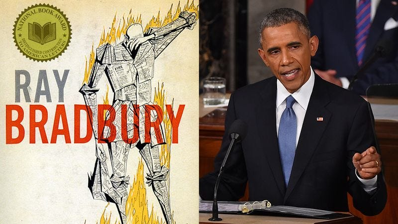 Illustration for article titled Obama Quote Or Description Of A Ray Bradbury Book Cover?