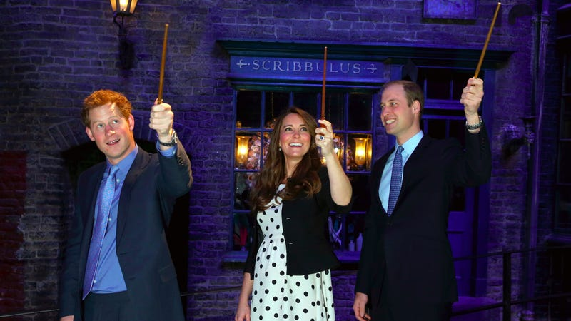 Royals (including the future head of the Church of England) with wands in 2013 at the opening of Warner Bros. Studios Leavesden. Image via AP.