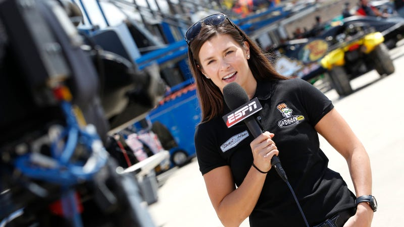 Danica Patrick, the Hollywood Hotel broadcaster for the June race at Pocono Raceway, being interviewed by ESPN back in 2012—when the network actually covered NASCAR. Photo credit: Tyler Barrick/Getty Images for True Speed Communication