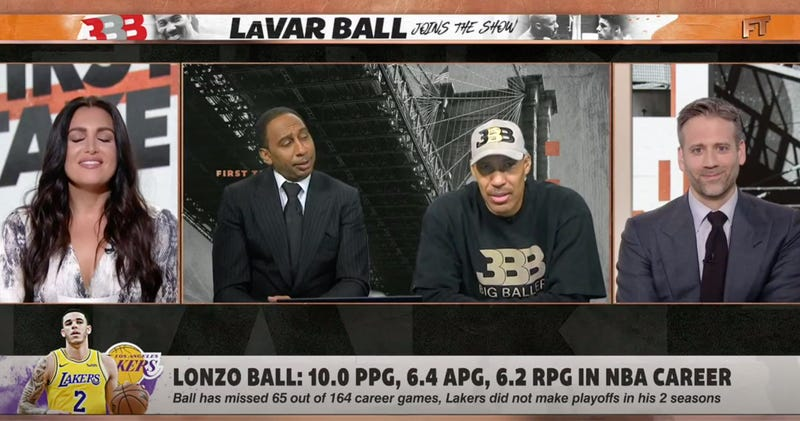 Illustration for article titled LaVar Ball Reappears On First Take After Lonzo's Trade, Makes Molly Qerim Uncomfortable