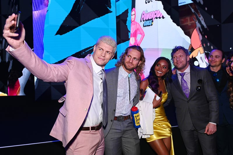 Cody Rhodes and others from the AEW stable take a moment at the WarnerMedia upfronts.