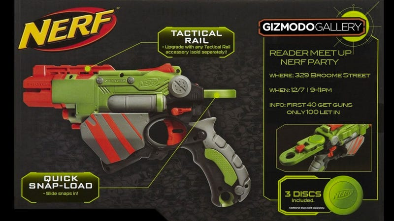 Illustration for article titled Free Nerf Blasters at Tonight's Gizmodo Gallery Reader Meetup