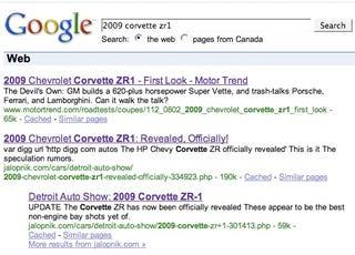 Illustration for article titled Motor Trend Gaming Google on the 2009 Corvette ZR1?