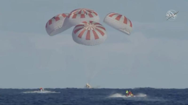 Splashdown! The moment the Crew Dragon landed back on Earth.