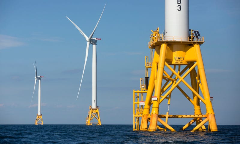 Turbines at the Block Island Windfarm, which start generating electricty today. Image: AP Photo/Michael Dwyer