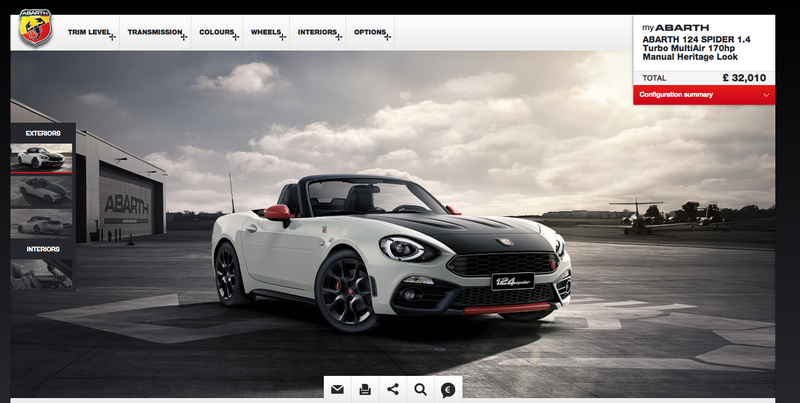 Illustration for article titled Go Configure Your Fiat Abarth 124 Spider Sort Of How You Want It Right Now