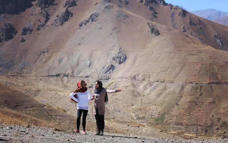 Jessica Wright (left) with her housemate in Bamiyan, Afghanistan. Photo credit: Jessica Wright