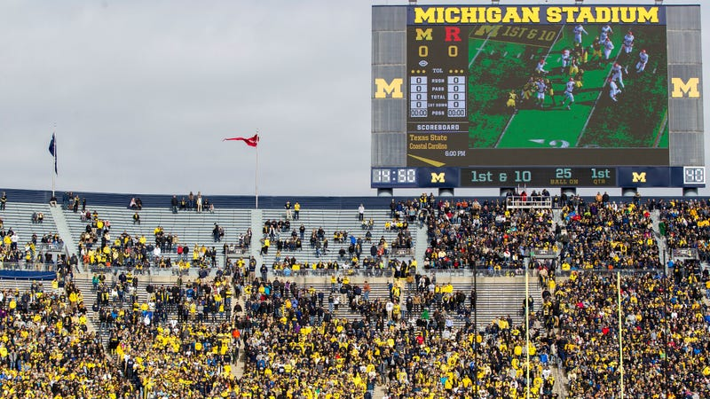 Michigan Stadium at the beginning of Michigan-Rutgers in 2017. Announced attendance was 111,213, nearly 4,000 over capacity.