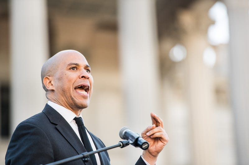 Sen. Cory Booker (D-NJ) addresses the crowd during the annual Martin Luther King Jr. Day at the Dome event on Jan. 21, 2019, in Columbia, South Carolina. The event has become a regular stop for presidential candidates.