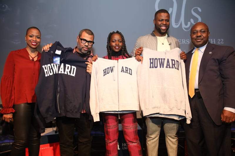 Moderator Rhea Combs, Jordan Peele, Lupita Nyong'o, Winston Duke and Howard Provost Anthony Wutoh.