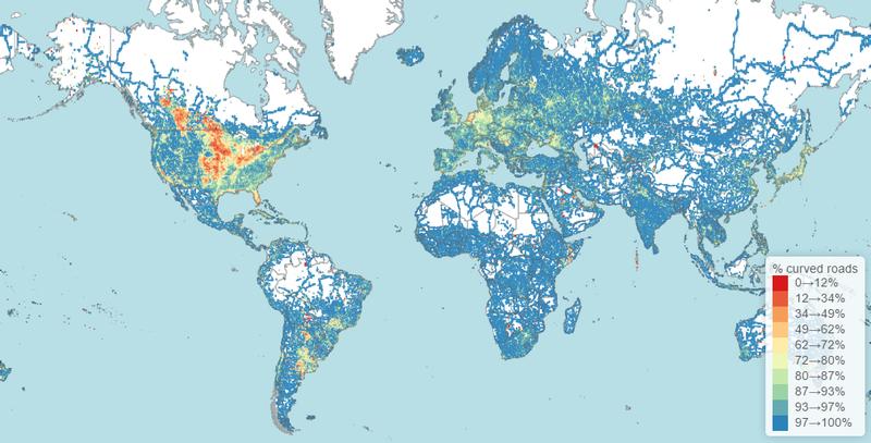 Illustration for article titled ¿Qué países tienen las carreteras más rectas (y con más curvas)?