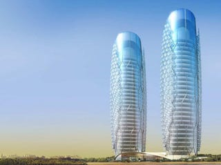 Illustration for article titled Twin Bubble-Wrapped Skyscrapers Set to Pop Up in Abu Dhabi