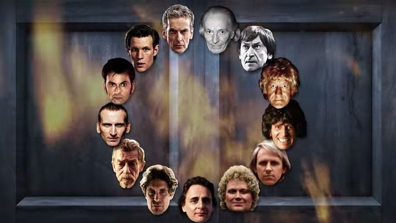 """Illustration for article titled Someone merged all the Doctors together to find Doctor Who's """"average"""" face"""