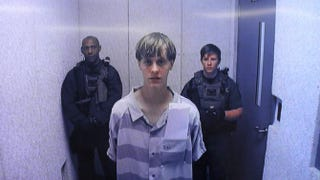 In this image from a video uplink from the detention center to the courtroom, Dylann Roof appears at Centralized Bond Hearing Court in North Charleston, S.C. on June 19, 2015.Grace Beahm-Pool/Getty Images