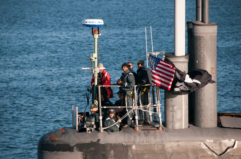 USS Jimmy Carter returns to port on Monday flying a Jolly Roger flag.  US Navy photo