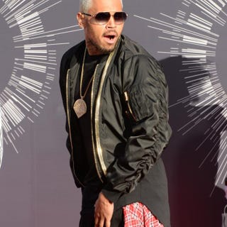 Chris Brown arrives on the red carpet at the MTV Video Music Awards Aug. 24, 2014, at the Forum in Inglewood, Calif.MARK RALSTON/AFP/Getty Images