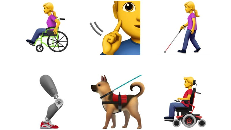 Illustration for article titled Apple Proposes First Accessibility Emoji, Including Guide Dogs and Prosthetics