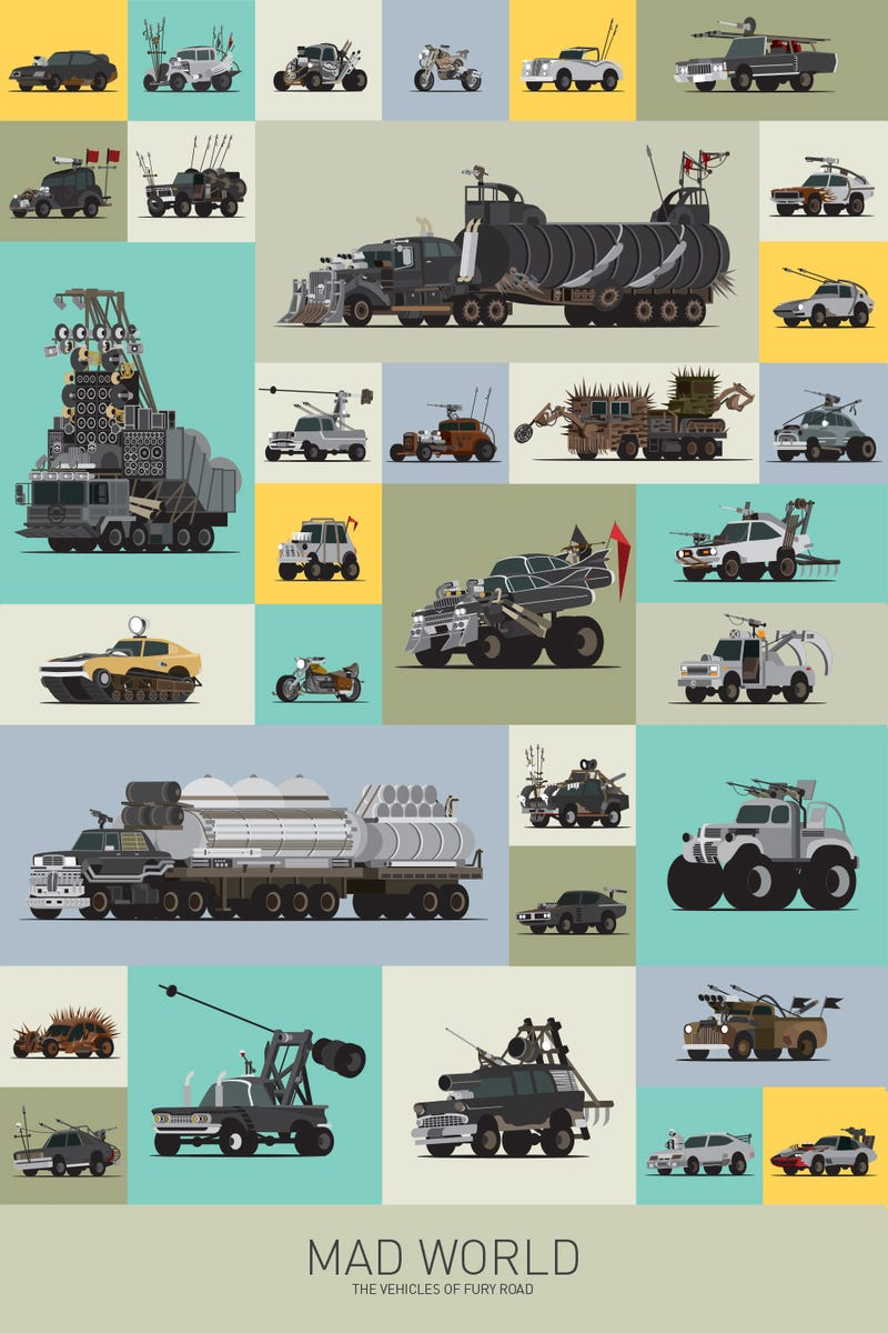 Illustration for article titled All the awesome cars from Mad Max: Fury Road in one cool graphic